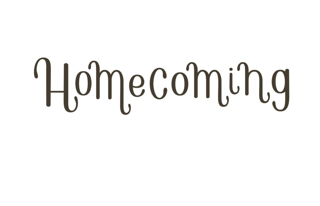 Word homecoming on a white background.