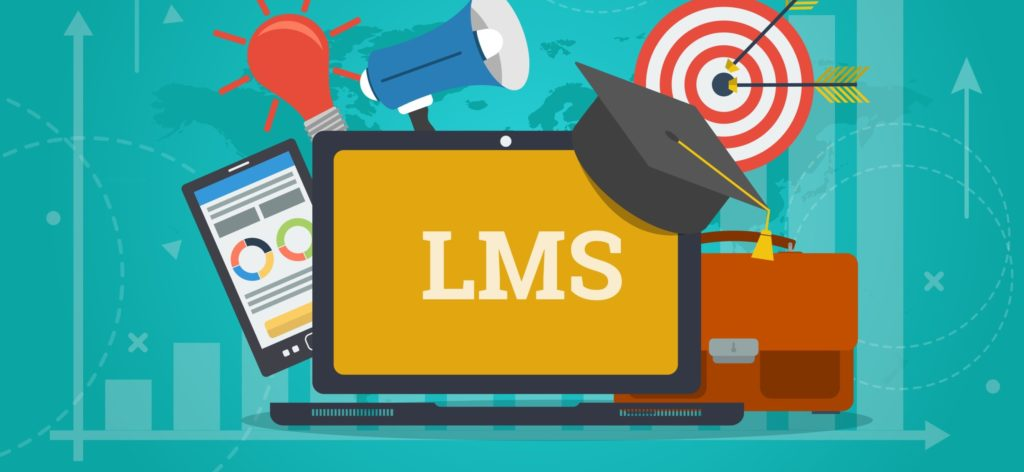 Laptop open with 'LMS' on the screen and a bullhorn, lightbulb, smart phone, graduation cap, bullseye, and briefcase around it.